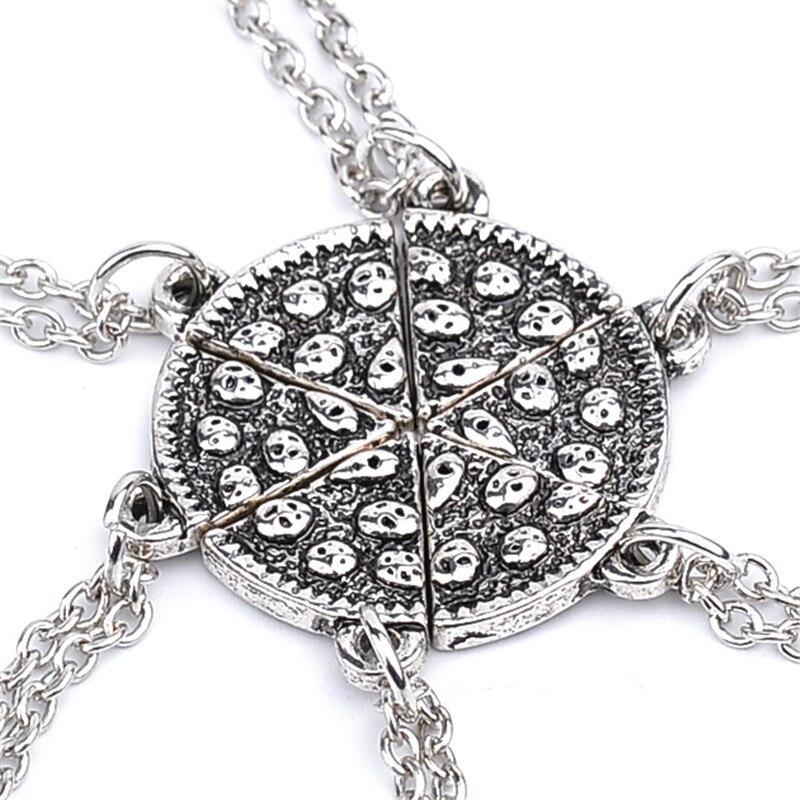 Factory whosale 6pcs/set Vintage Pizza Necklaces for Friends Charm Pendant Statement Necklace Best Friends BBF friend ship gift