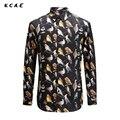 KCAE 2017 New Autumn Fashion Brand Men Clothes Slim Fit Men Long Sleeve Shirt Men Print Magpie Bird Casual Men Shirt Social Plus