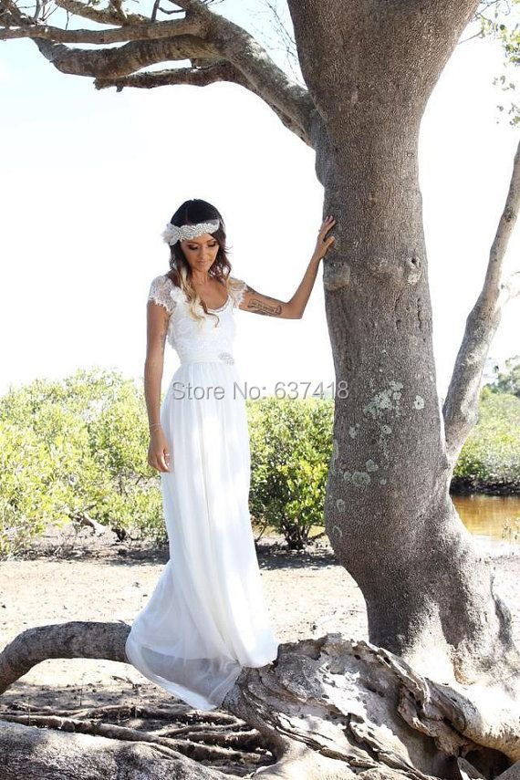 New Arrived Elegant Simple White Wedding Dress Beach Wedding Dress Summer Dress with Lace Open Back