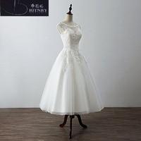 Quality Short Wedding Dress Scoop Neck A Line Tea Length Lace Informal Bridal Gowns