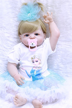 55 cm Reborn Baby Dolls with Pretty princess dress Alive Silicone Vinyl Doll Girl bebe Gifts Blonde blue eyes reborn babies toy wholesale 23 fashion doll reborn babies full silicone vinyl newborn dolls blonde wig baby toys for princess birthday gifts