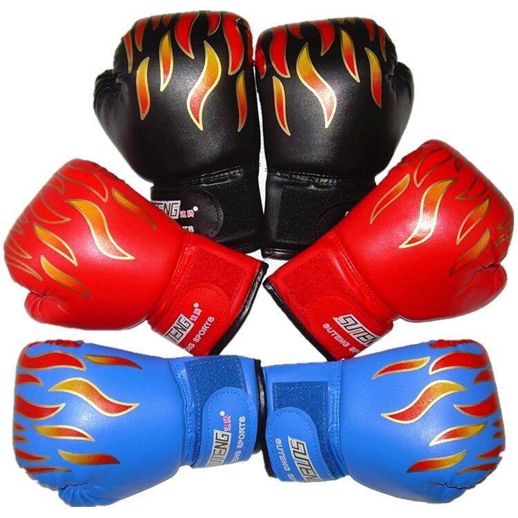 Среднего качества пламя дети мальчиков и девочек бокс спарринг перчатки сумка удар Обучение Санда Каратэ Муай Тай бороться рукавицы DEO