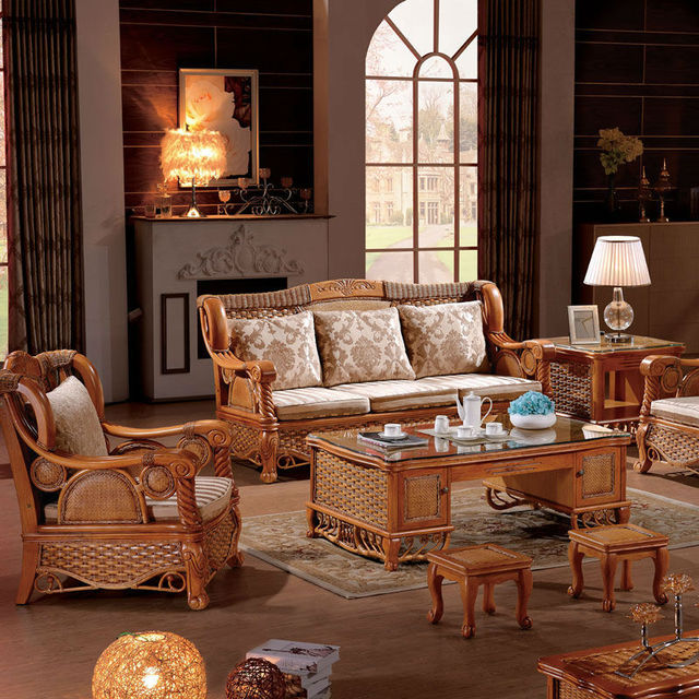 2015 latest sofa design nature indonesian rattan living room ...