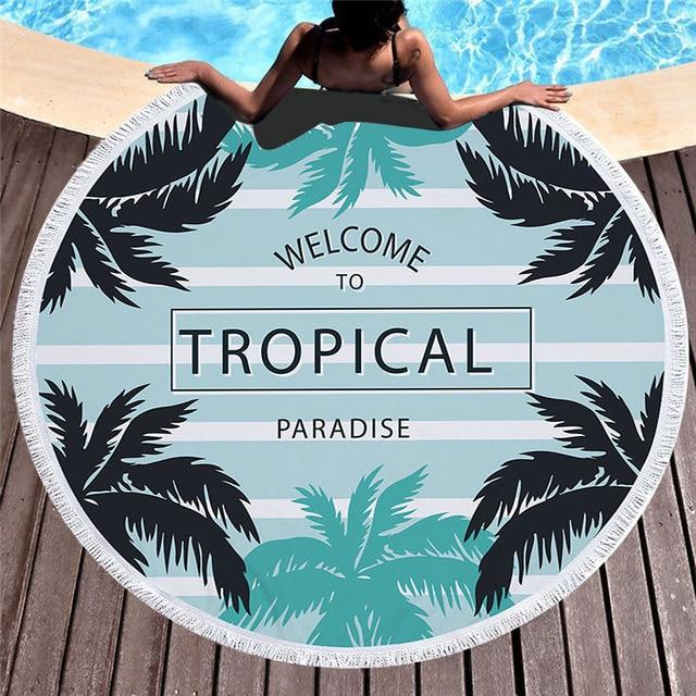 XC USHIO 2018 New Arrival Fashion Leaf 450G Round Beach Towel With Tassels Microfiber 150cm Picnic Yoga Blanket Beach Cover Up