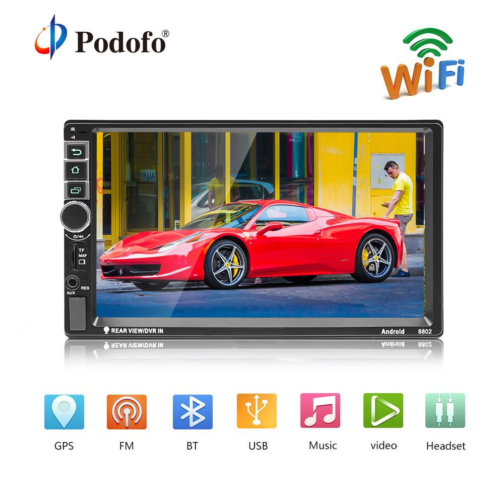 Podofo 2din Android Autoradio GPS 7 pouce 2 din Radio Cassette Enregistreur Bluetooth autoradio MP5 Lecteur Soutenir caméra de Vue Arrière caméra