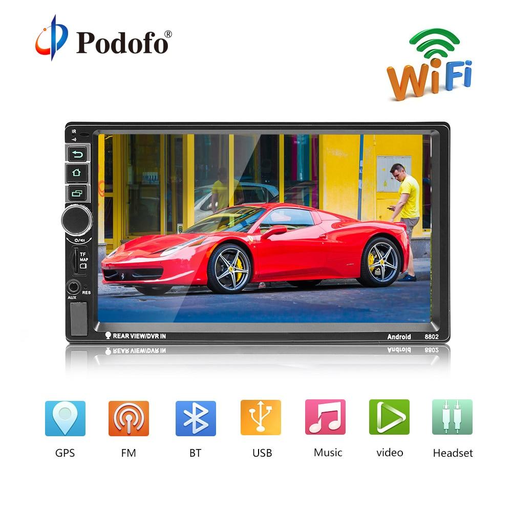 Podofo 2din android-автомагнитолы gps 7 дюймов 2 din магнитола Регистраторы Bluetooth Авторадио MP5 плеер Поддержка заднего вида камера