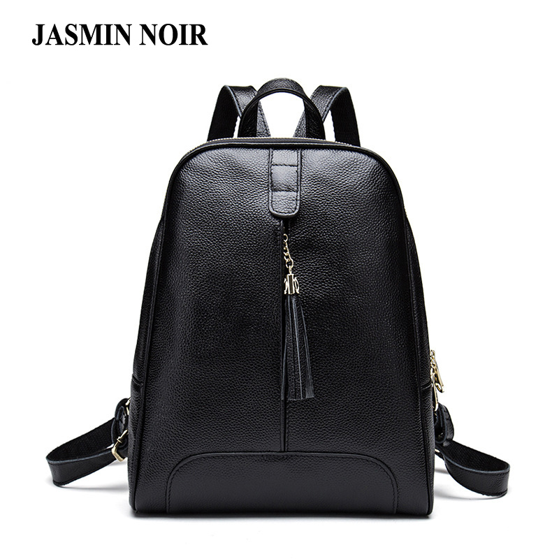 Genuine Leather Women Backpacks Tassel Female Designer Knapsack Casual travel bag Cow Leather Brand School Bag for teenagers