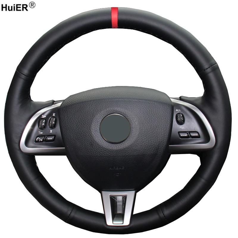 HuiER Hand Sewing Car Steering Wheel Cover Red Marker For Jaguar XF XF S XF Sportbrake 2014 2015 Wear-resistant Car Styling