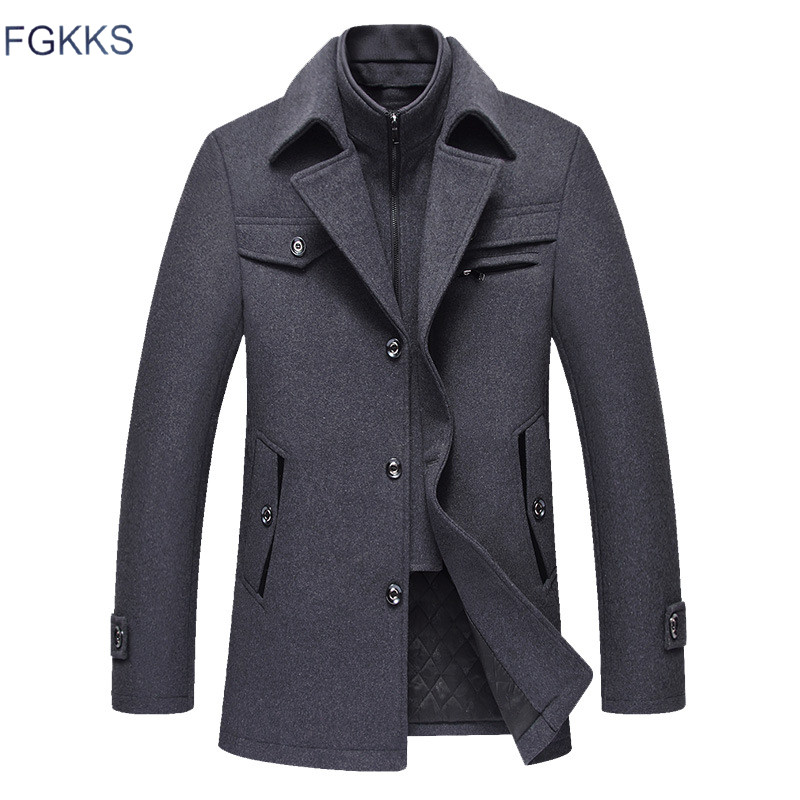 FGKKS Men Winter Wool Coat 2019 Men's New Fashion Warm Thick Comfortable Wool Blends Woolen Pea Coat Male Trench Coat Overcoat(China)