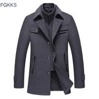 FGKKS Men Winter Wool Coat 2019 Men's New Fashion Warm Thick Comfortable Wool Blends Woolen Pea Coat Male Trench Coat Overcoat