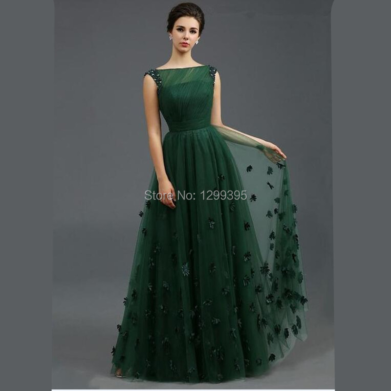 Long Gowns For Wedding Guests: New Elegant Boat Neck Emerald Green Formal Dress Wedding