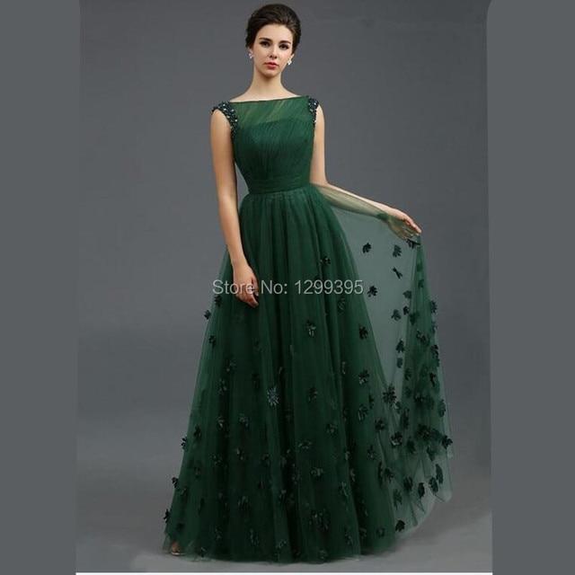 New Elegant Boat Neck Emerald Green Formal Dress Wedding Guest Dresses Vestidos Formales Largos Para