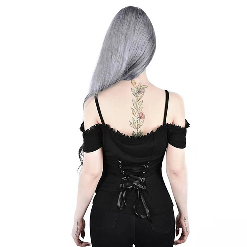 Summer Clothes Women Gothic Punk Back Bandage Lace Off Shoulder Camisole Sexy Sleeveless Clothing For Women Ladies 35LY15 (14)