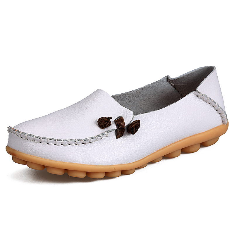 2019 Spring Women Flats Shoes Genuine Leather Ballet Flats Women Driving Shoes Slip On Moccasins Loafers Ballerina Shoes Casual(China)