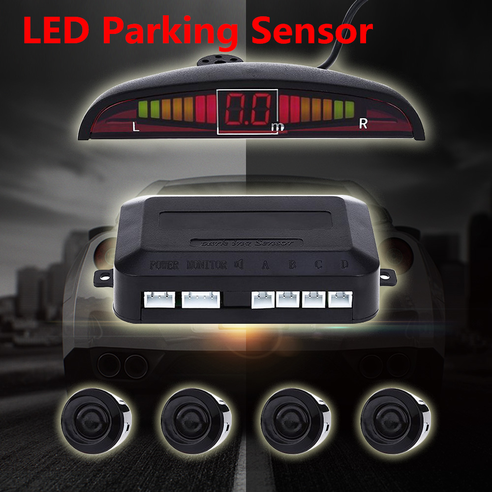 sound system kit. universal led parking sensor kit display buzzing sound car assistance reverse backup radar monitor system