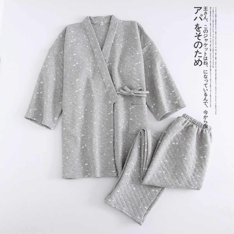 2019 automne hiver chaud japonais pyjamas ensembles hommes pijamas mâle 100% coton Spa Robe ensembles pour homme boxer kimono robes hommes hombre