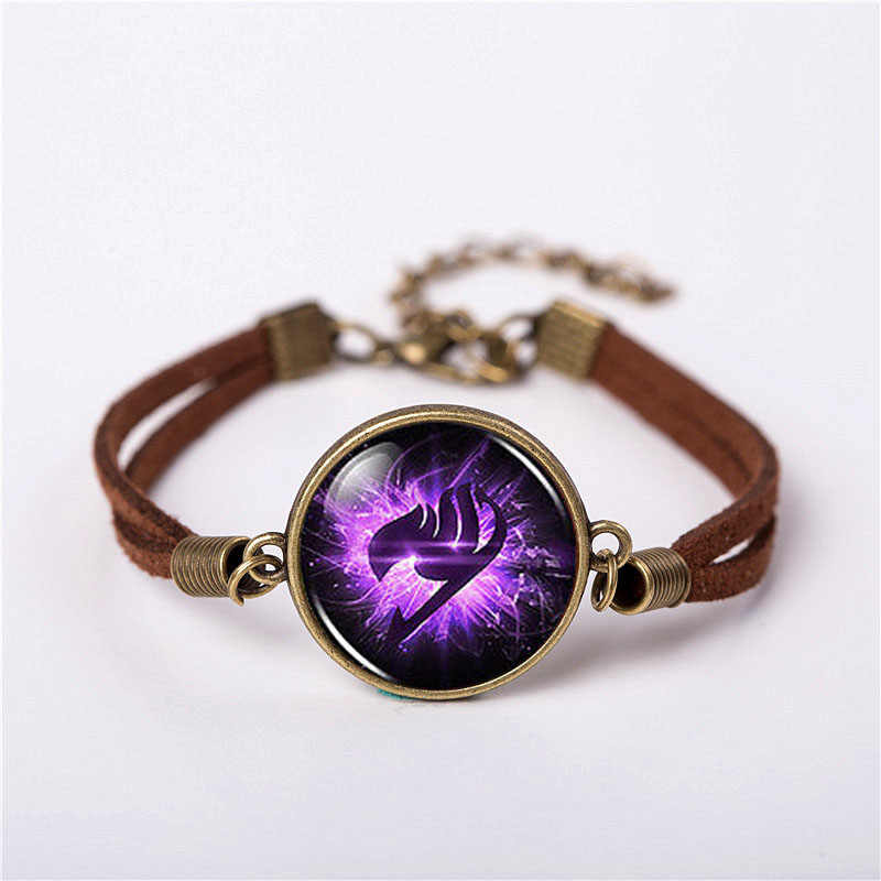 Anime Fairy Tail Guild Marks Purple Wing Bracelet Jewelry Fashion Cute Cartoon Vintage Leather Bracelet chain Bangle friend Gift