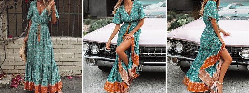BerryGo women dresses Bohemian dresses print summer dress Short sleeve ruffled long maxi dress v-neck drawstring ladies vestidos 2