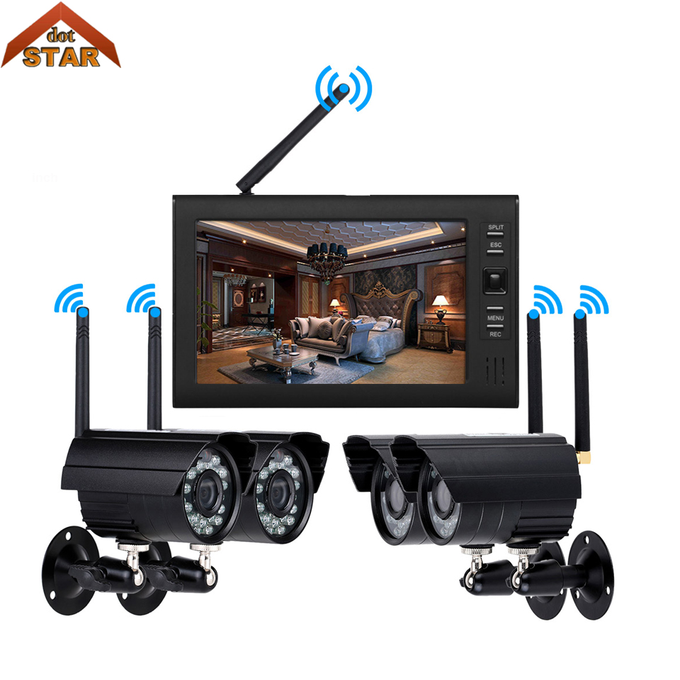 Stardot 4ch Outdoor Day night security ip camera system WiFi wireless NVR kit with 7 inch LCD Screen Surveillance DVD Kit