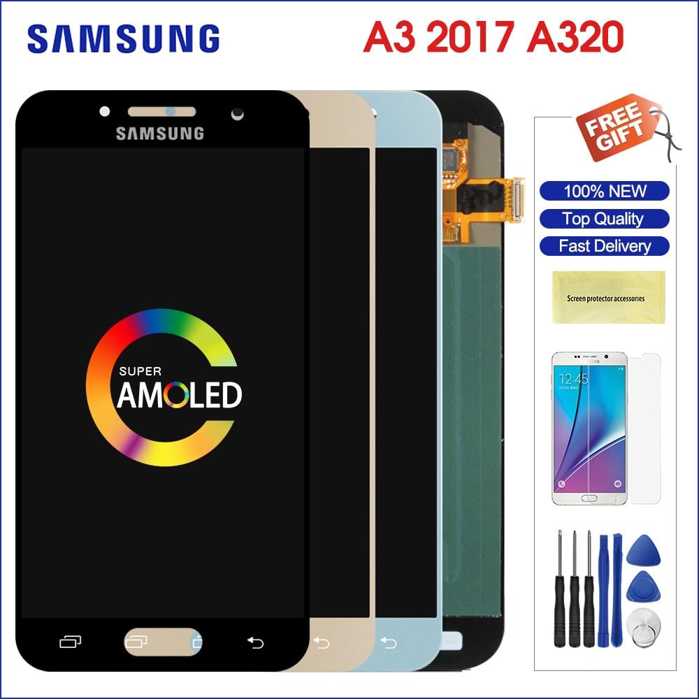 Original samsung a3 2017 affichage a320 lcd A320M A320F AMOLED numériseur assemblée remplacement pour samsung galaxy a3 2017 a320f