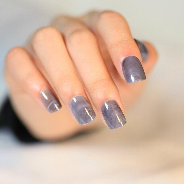 Shiny Short Press On Nails Gray Marble Pattern Round Acrylic Fake ...