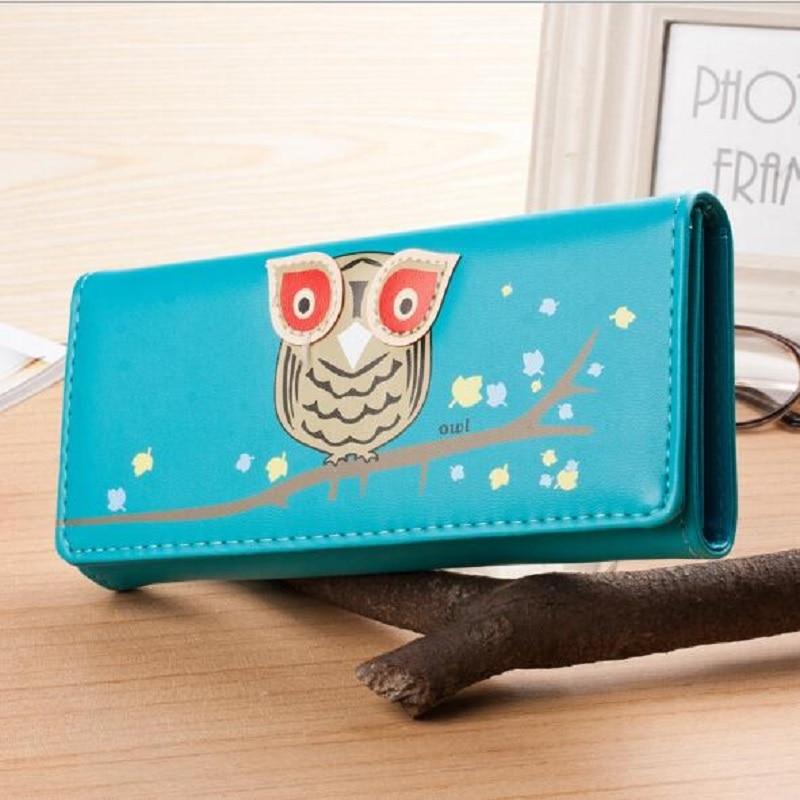 купить Owl Wallet Long Creative Female Card Holder Casual Zip Ladies Clutch PU Leather Coin Purse ID Holder недорого