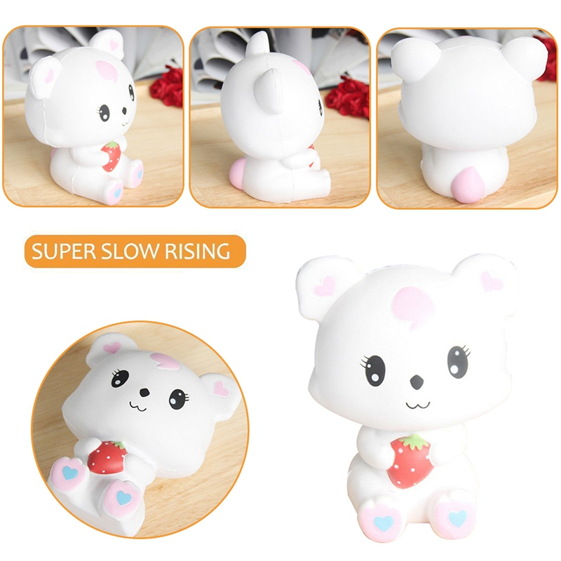 2018 New Cute Squishy Anti stress kawaii Bear holds Strawberry Shape Squishies Super Soft Slow Rising Squishy toy Gifts