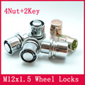 4nuts+2keys M12x1.5 Alloy Flat washer Wheel Nut Locks ANTI-SHEFT NUT FOR the wheel/ rims of toyota Corolla/Rav4/Crown/Pardo/Reiz