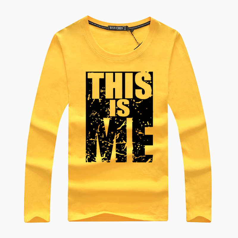New Men's This Is Me Letter Printed O-neck Cotton T-shirt Men Long Sleeve Plus Size Casual T-shirts Male Tees Shirt Size S-5XL