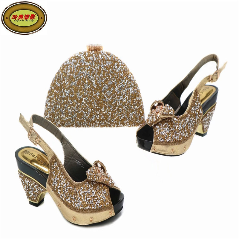 G45 Gold Free Shipping Upscale African Woman Sandals Shoes High Heels Matching Bag Italian Shoes And Bag Set Online italian shoes and bag set for party 2017 hot style african woman sandals heels matching bag free shipping
