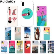 RuiCaiCa tabla de surf arte surf chica DIY pintado hermosa funda de teléfono para Apple iPhone 8 7 6 6 S Plus X XS X MAX 5 5S SE XR(China)