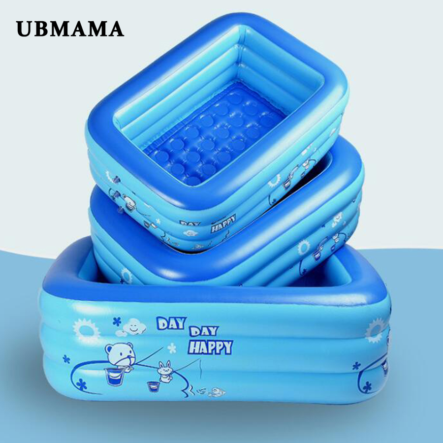 Plastic 3 Separate Chambers Inflatable Bottom Square Pool Children Baby Baby Play Pool Inflatable Bathtub