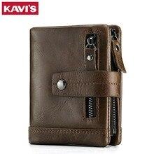 Kavis carteira de couro genuíno masculino cuzdan carteira homem portomonee pequeno mini rfid walet bolso moda homem vallet
