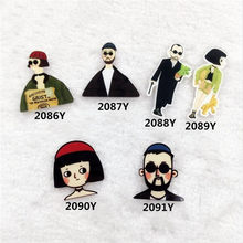 Costumes Badge Acrylic Cute woman Cool man brooches Pin up fashion lady Broche Epaulette XZ35(China)