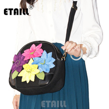 ETAILL New Colorful Appliques Single Shoulder Bag Women Crossbody Bags Handbags Chinese Ethnic Embroidery Bags for Women 2018 etaill chinese embroidery single messenger bag women s fashion leisure crossbody bag canvas ethnic boho embroidered women bag