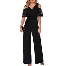 2019 New Fashion Long Wide Leg Romper Overlay Embellished Black Strappy Cold Shoulder V-Neck Jumpsuit Loose Solid Jumpsuit цена 2017