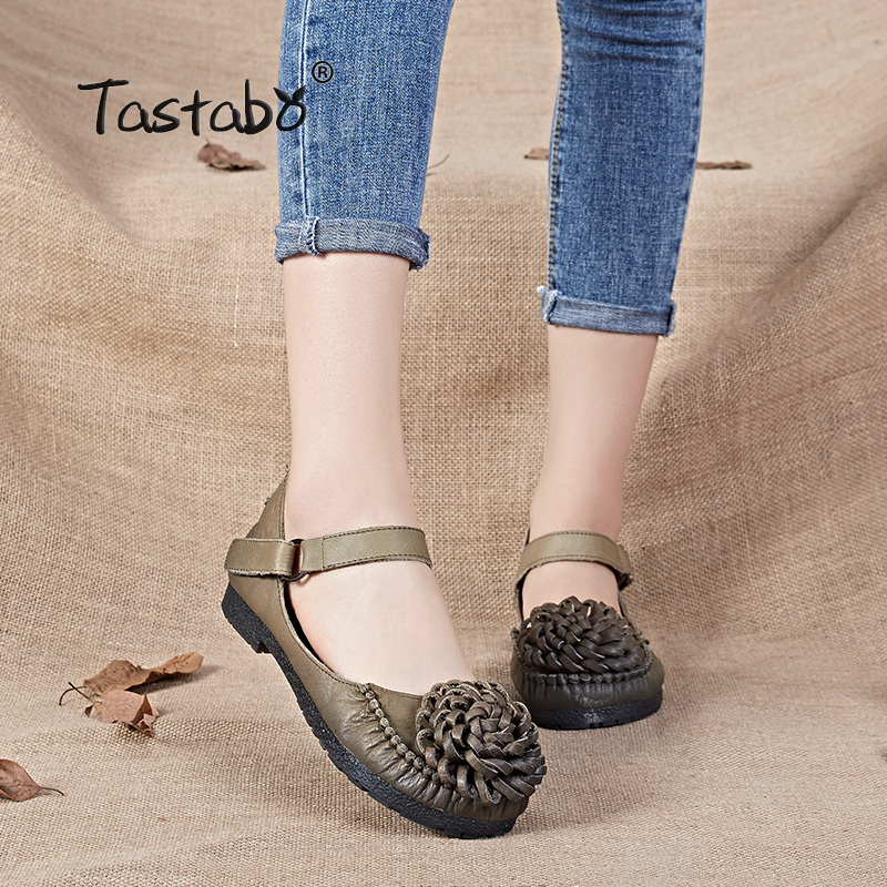 Tastabo Retro Shoes Women 2017 New Arrival Genuine Leather Round Toe Flower Ladies Flats Handmade Solid Casual Shoes Loafers yaerni 2017 retro style women shoes flats platform handmade flower genuine leather thick heels round toe women causal shoes