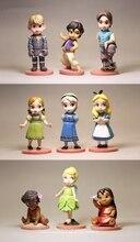 Figurine Prince et princesse Disney reine des neiges Anna Moana, ensemble de 9 pièces, 6 9cm, Mini décoration, dessin animé, Collection jouet