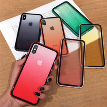Colorful bumper gradient color candy case for iphone8 8plus xr xs max 8 7 6 6s plus back hard plastic phone Imitation glass