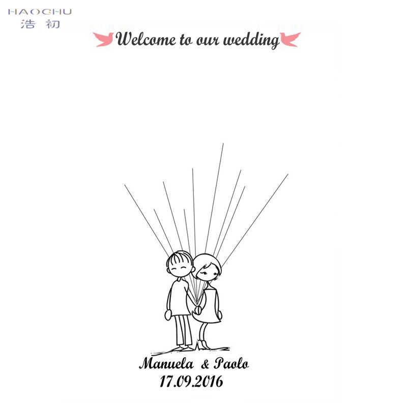 HAOCHU Creativo FAI DA TE Amore Tela Pittura Nuziale Fingerprint Firma Albero Matrimonio Guest Book Rifornimenti Del Partito Home Decor Poster