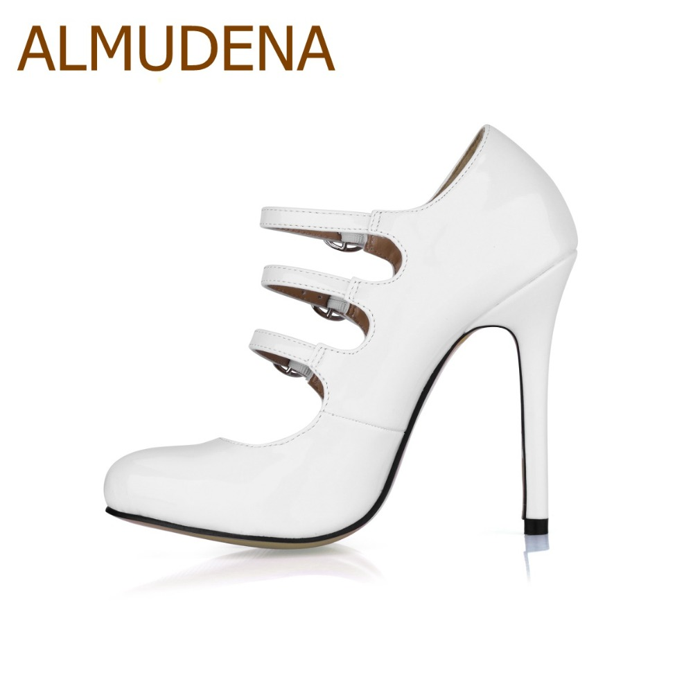 Almudena Fuera El Tacón Zapatos Del Alto Brand Blanco Ahueca Correas De Club white Vestido Bombas Triple Los Hacia Tacones Bombea Nocturno Black Aguja Hebilla Top Negro WazrWR