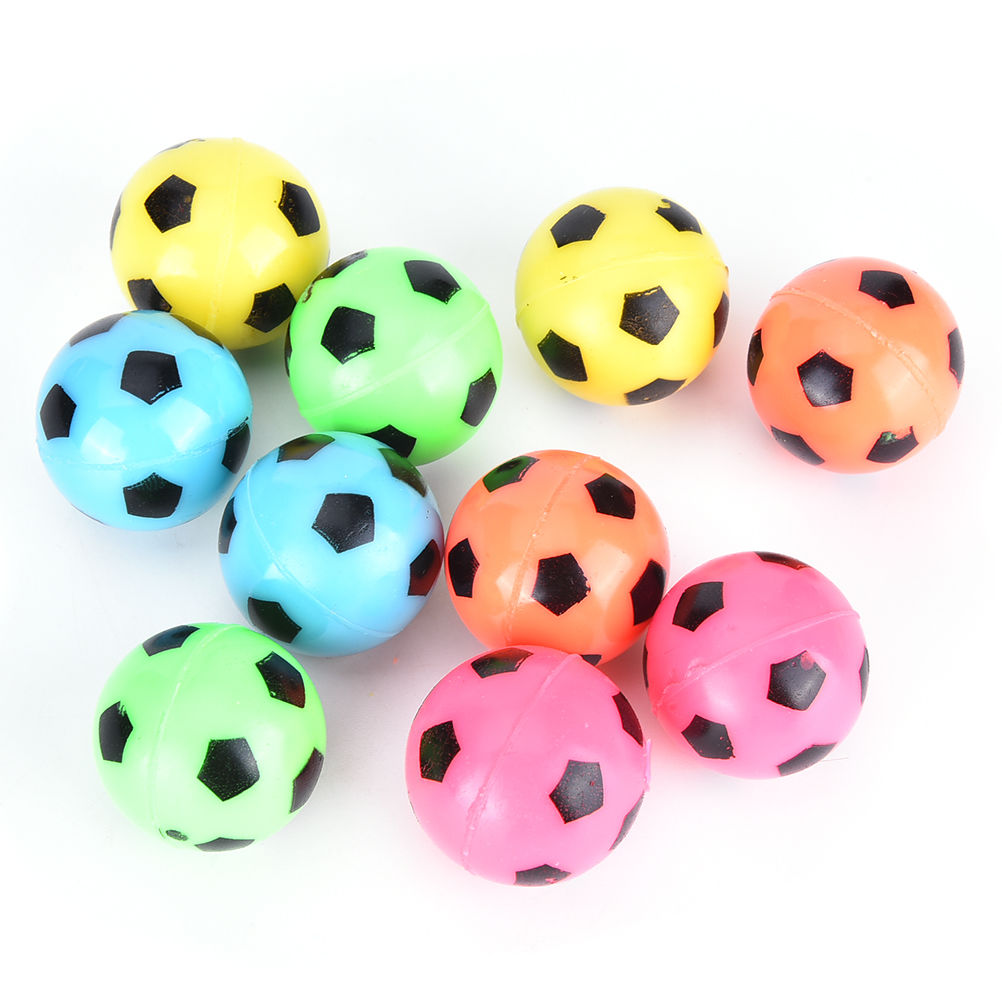 10Pcs/lot Bouncing Football Soccer Ball Rubber Elastic Jumping Kid Outdoor Ball Toys Wholesale Random Color