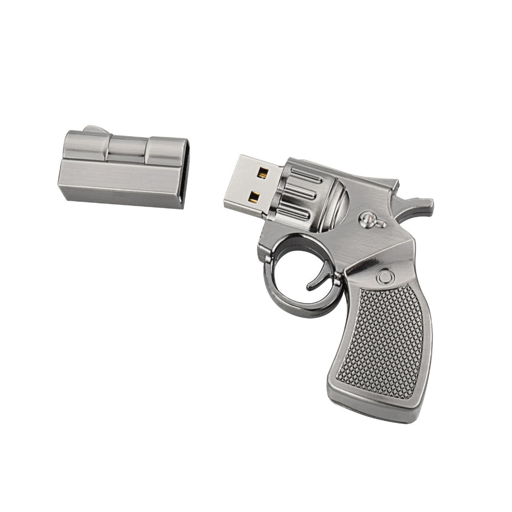 J-boxing Cartoon USB Flash 64GB Pendrives Metal Gun Shape Memory Stick Thumb Drive Storage for Computer Laptop Mac Tablet