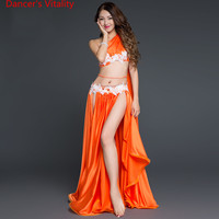 2017New Arrival Belly Dance Long Skirt Set Sexy Dancer Practice Costume Set Purple White Red Free