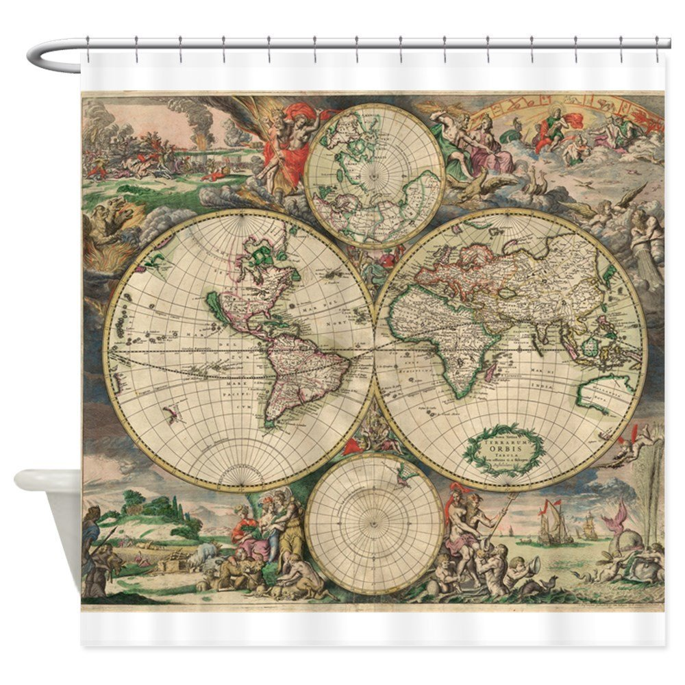 Antique World Map Shower Curtain Decorative Fabric Shower Curtain 8 Sizes Shower Curtain For The Bathroom With 12 Hooks