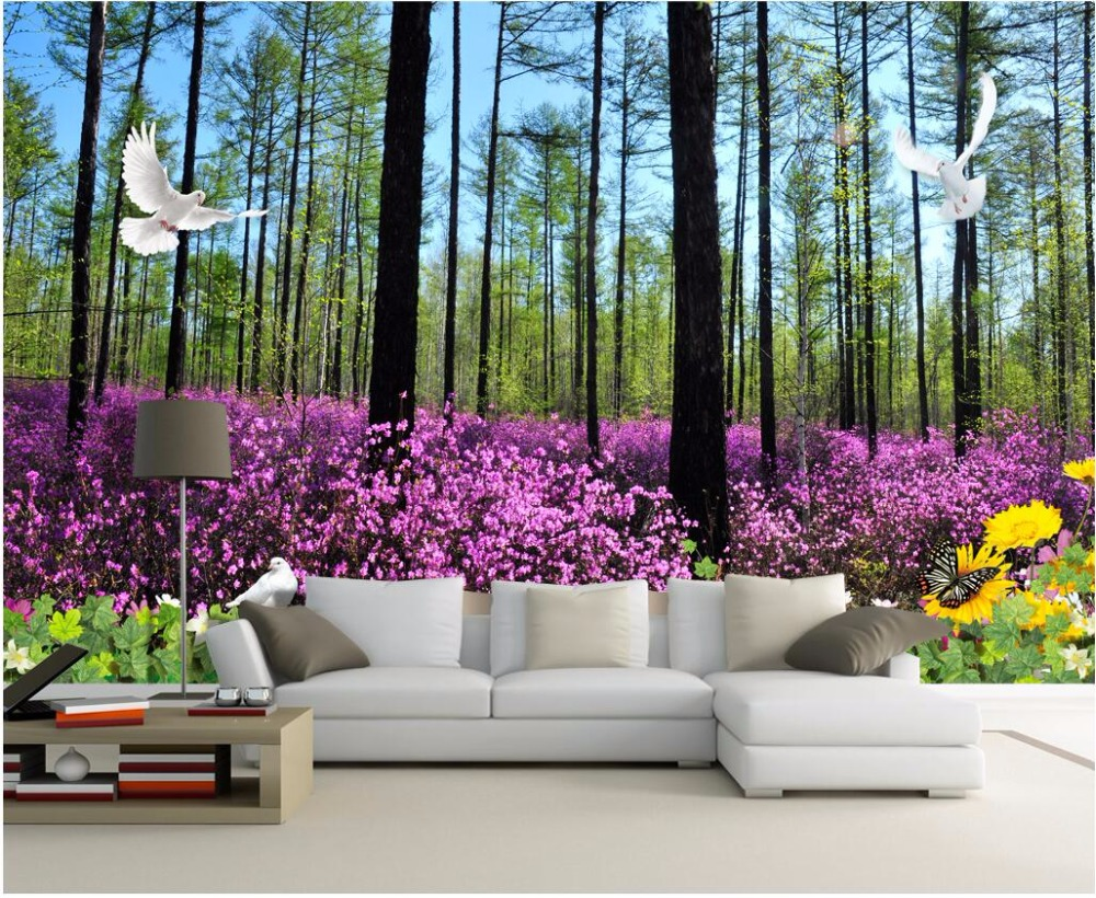 Custom mural photo 3d living room wallpaper Forest flowers home decor painting picture 3d wall murals wallpaper for wall 3 d custom photo wallpaper 3d green forest nature landscape large murals living room sofa bedroom modern wall painting home decor