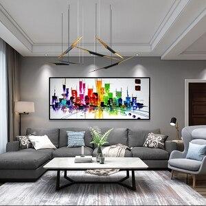 MUYA moda wystrój domu nowoczesna sceneria miasta płótno malowanie nowe york zdjęcia tableau duże malarstwo abstrakcyjne biuro