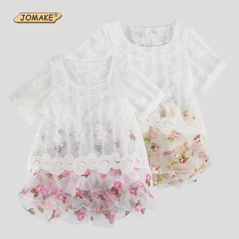 Retail Summer Dress European And American Style Kids Dresses For Girl Floral Lace Mesh Short Sleeve Princess Toddler Girls Dress country style short sleeve floral print dress for girl