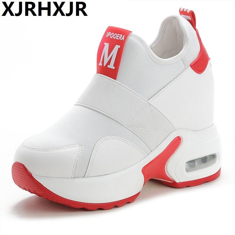 2019 printemps femmes haute plate-forme chaussures 10 cm hauteur augmentant dames baskets automne baskets PU cuir chaussures décontractées respirantes