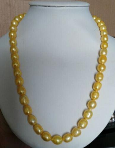 Gorgeous 10-12mm south seas gold pearl necklace 22 inch choker цена